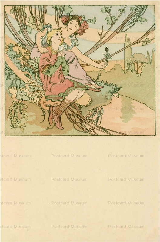 am029-Four Ages of Man.Adolescence 1900 Alphons Mucha