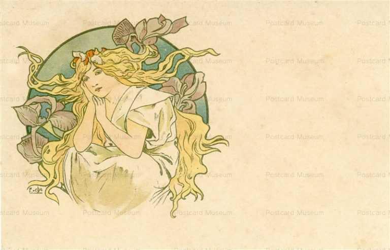 am046-Design for Postcard 1900 Alphons Mucha
