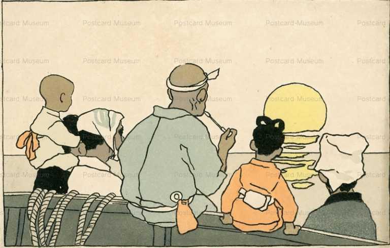 ar076-夕照りを見る家族