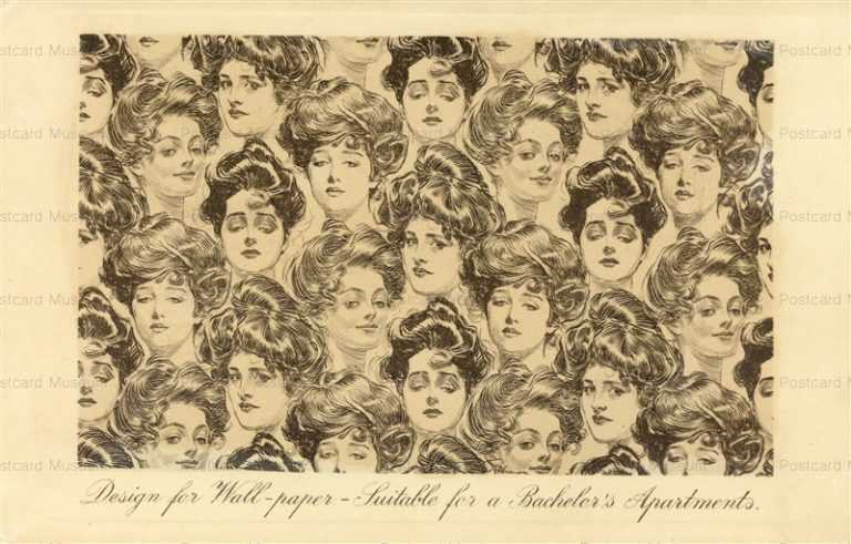 art040-Gibson Girls Wallpaper Series Glamour Postcard