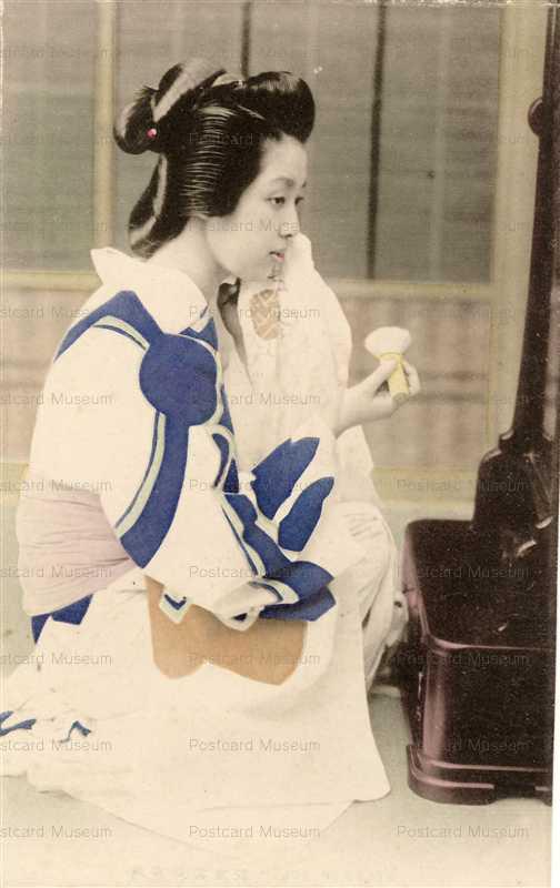 bf002-鏡に向い化粧する美人 青雲堂