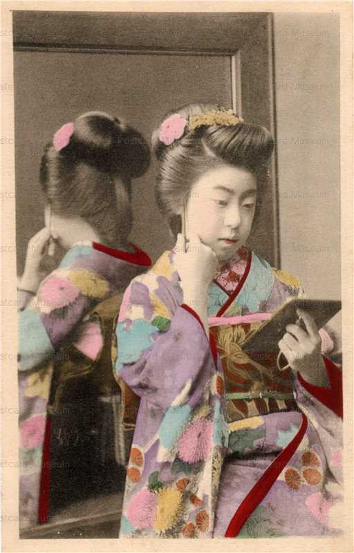 bf006-手鏡と大鏡で後姿を見る美人