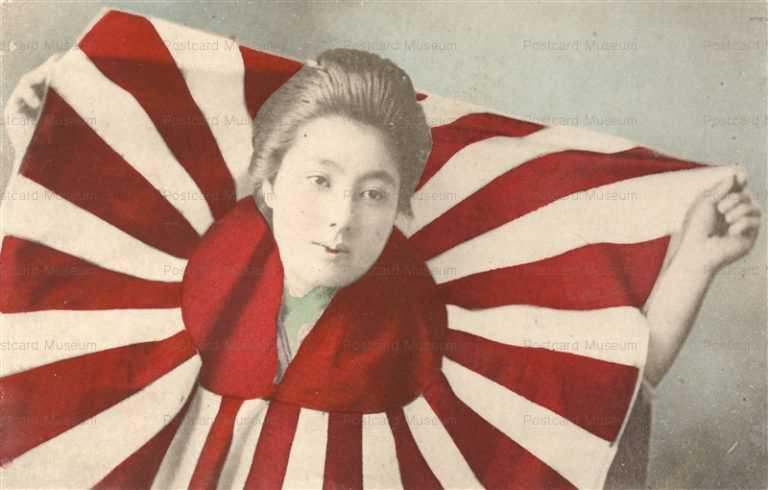 bh115-日章旗から顔出す美人