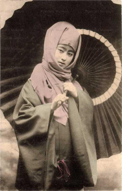 bv012-傘のベール美人御高祖頭巾