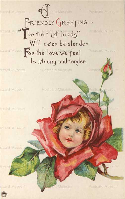 c125-Greeting Fantasy Rose Girl Stecher Lith Co