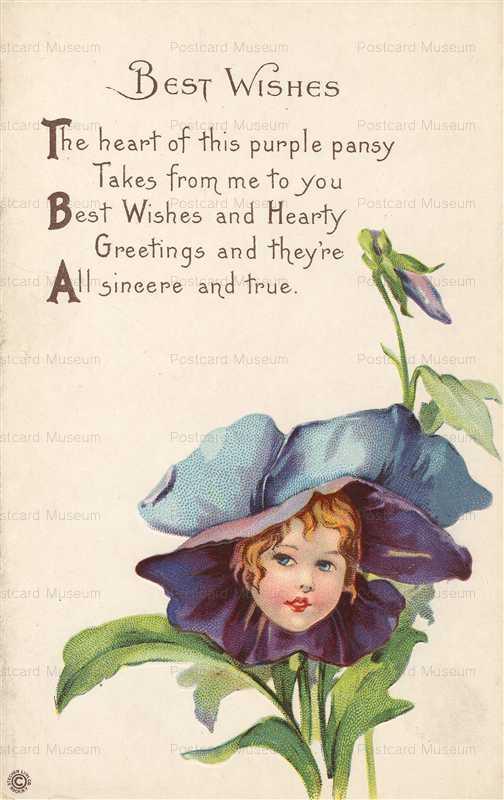 c126-Greeting Fantasy Violet Girl Stecher Lith Co