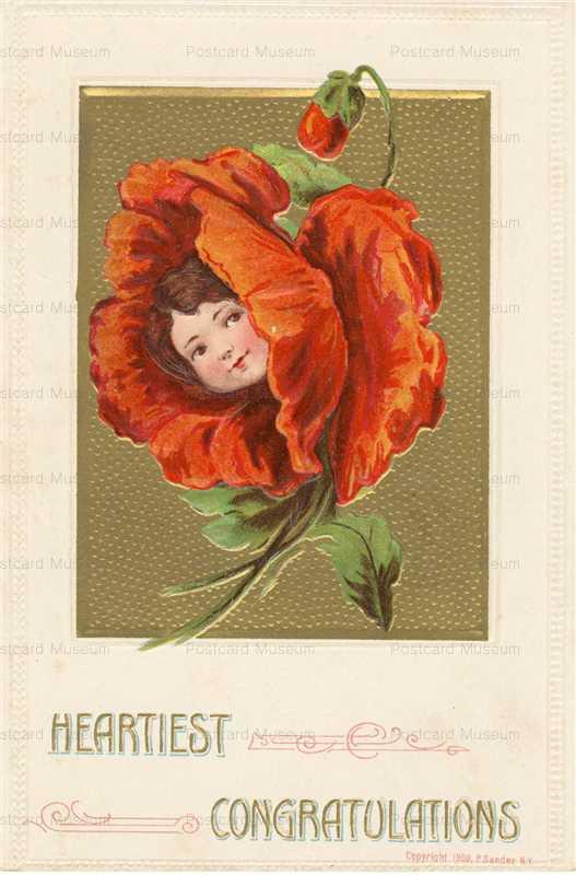 c140-Heartiest Congratulations Girl Red Flower P Sander
