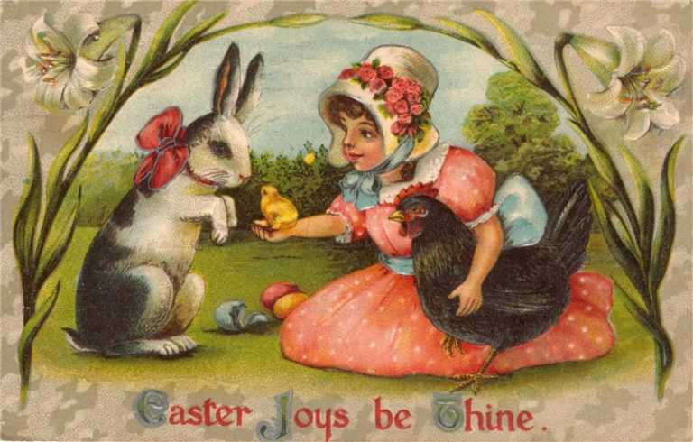 e004-Easter Rabbit&Girl