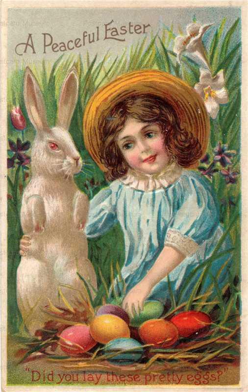 e006-Easter Rabbit&Girl