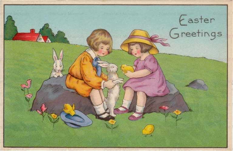 e011-Easter Girls&Rabbits