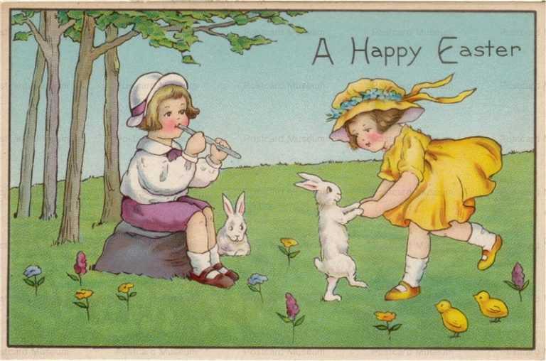 e012-Easter Girls&Rabbits