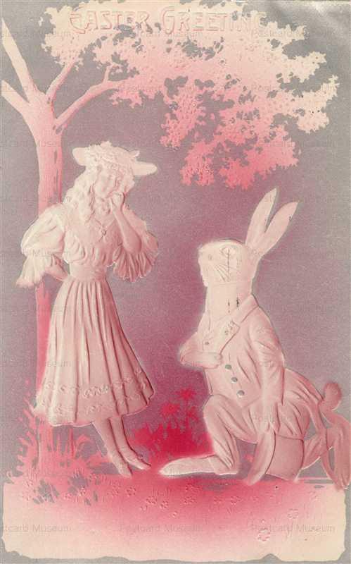 e330-Girl & Rabbit Easter Embossed