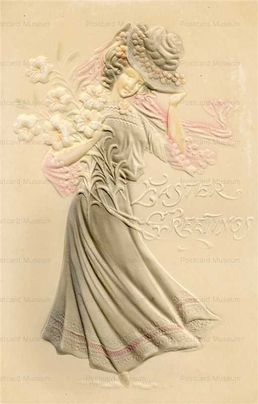 e345-Easter Greetings Lady Embossed