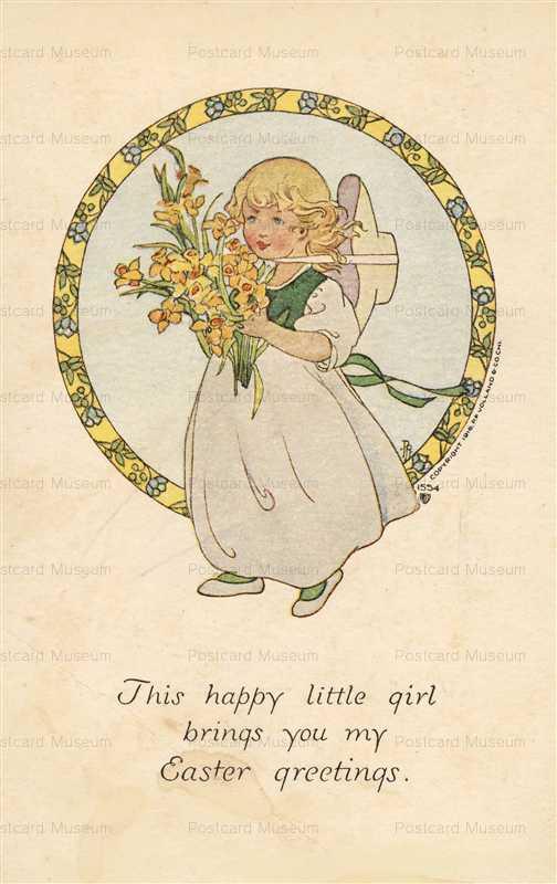 e367-Easter Girl with Flower