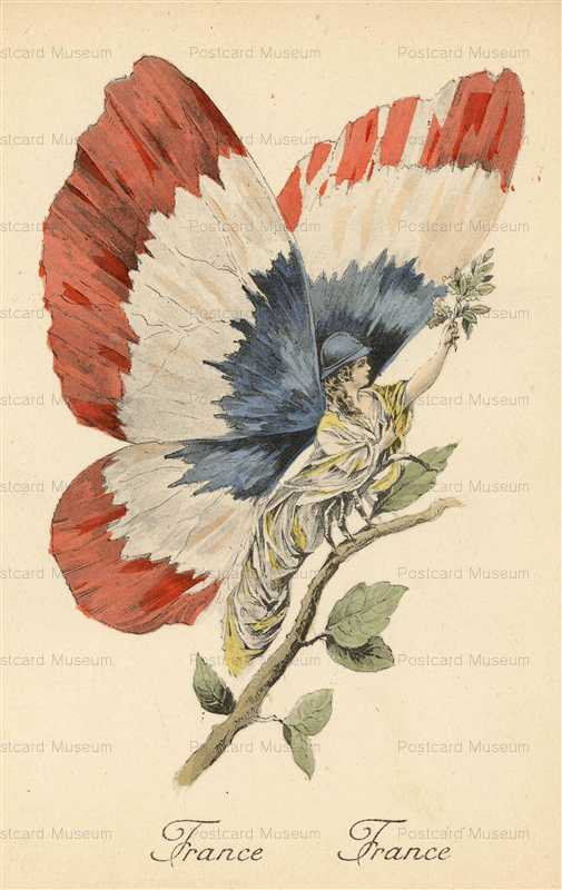 ee002-WWI War Satire France Butterfly Fairy