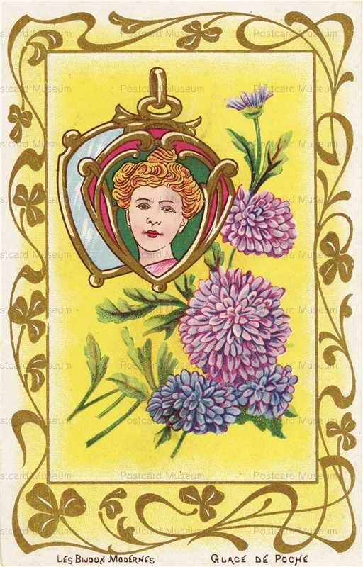 ee100-Jugendstill Woman with Chrysanthemum