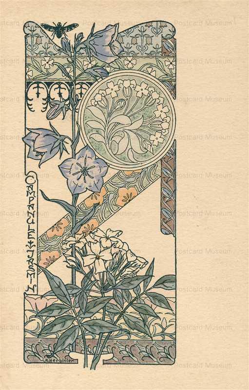 em026-A Herbinier Campanule Jasmin Jugendstill Flowers