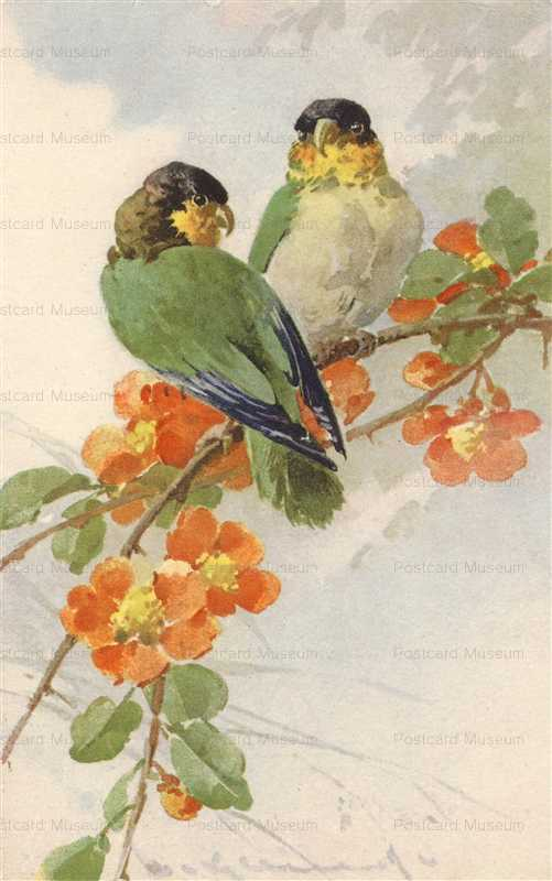 em145-Catherine Klein Birds and Flower Stehli