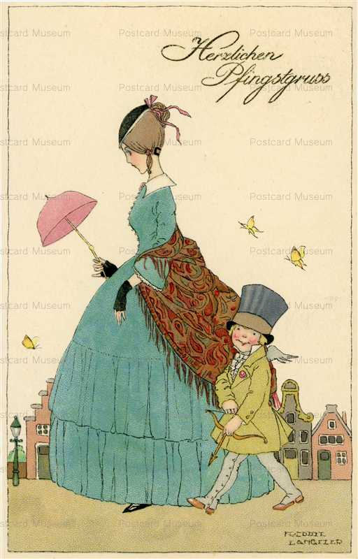ex150-Meissner and Buch 2799 Langfler Postcard M&B Woman and Son Walking