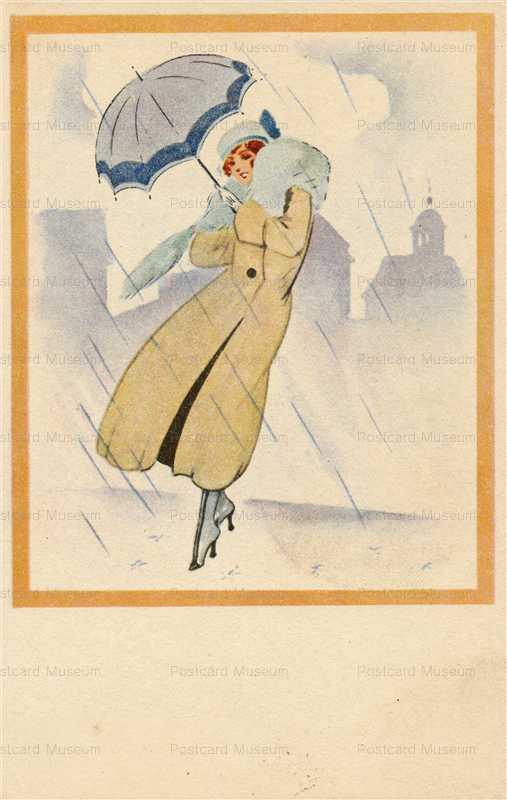 fa020-Art Deco Girl in Rain