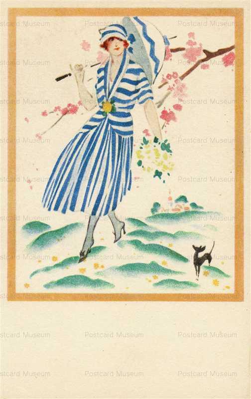 fa021-Art Deco Woman with Umbrella and Dog