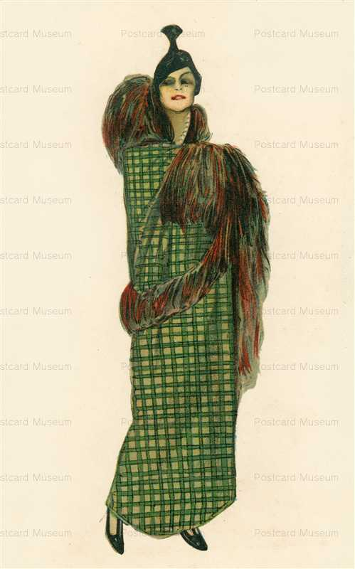 fa120-Green Dress Glamour Italian Art Deco