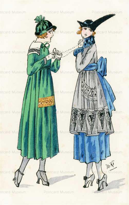 fa240-Miki Art Deco Fation Lady Couple