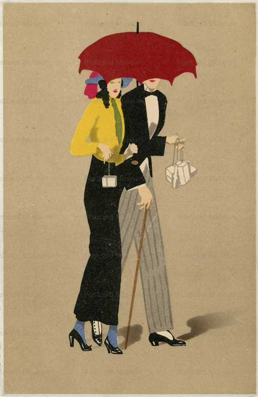 fa330-Romantic Couple in Early Red Umbrella