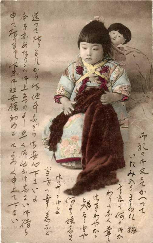fi021-市松人形 子供おんぶ