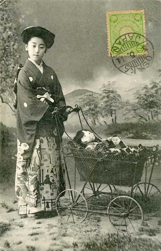 fib110-市松人形 人形遊び 乳母車
