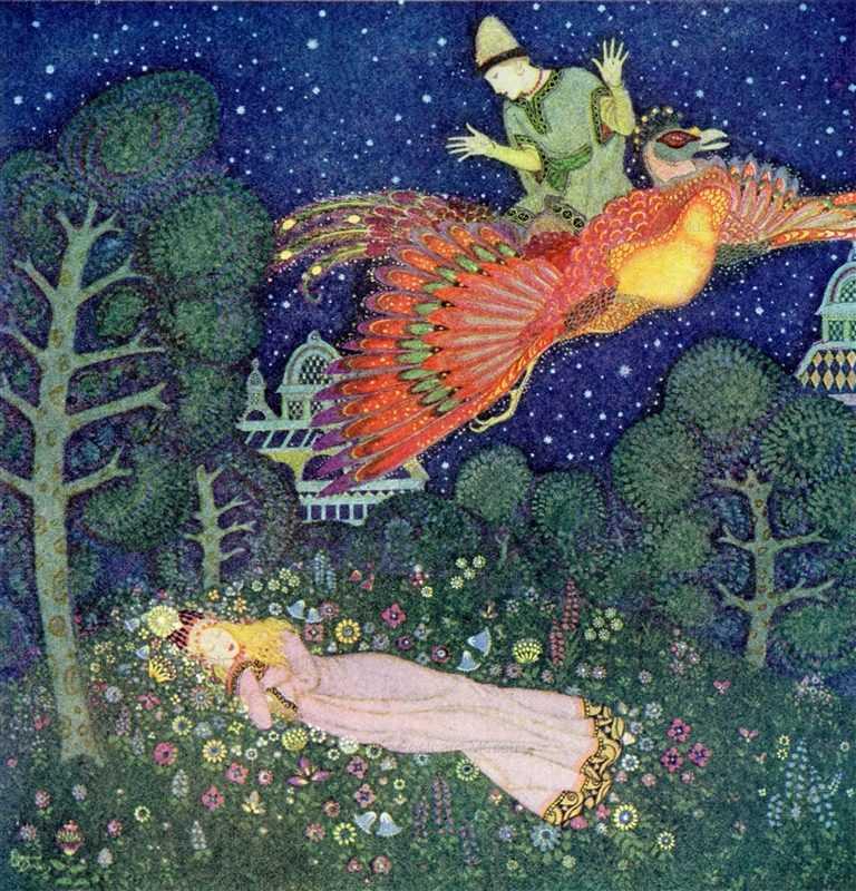 fo138-Edmond Dulac the Fire Bird Princess Aasleep Fairy Book