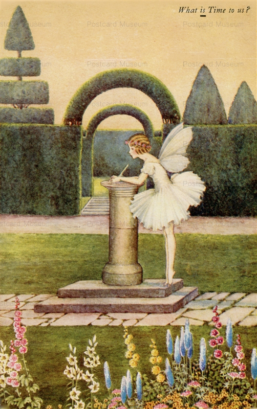 fo175-Ida Rentoul Outhwaite What is Time To Us,Flowers Hedge Gate.Fairy Wings Elves and Fairies Series From Blossom