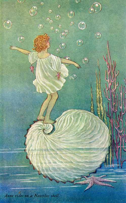 fo245-Ida Rentoul Outhwaite Rides on a Nautilus Shell from the Enchanted Forest