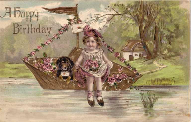hb003-Happy Birthday Boat&Dog