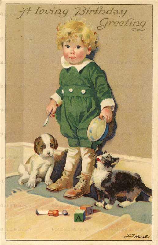 hb010-Birthday Little Boy Kitten & Puppy Hunter
