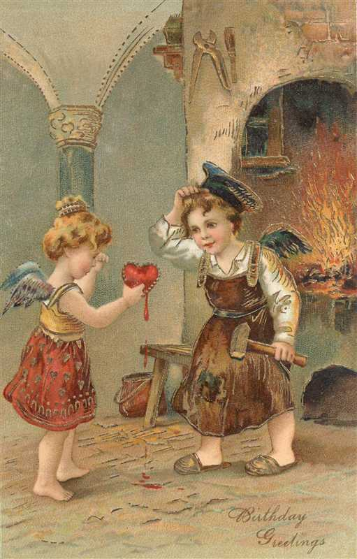 hb045-Girl Angel Giving Boy Angel a Red Heart