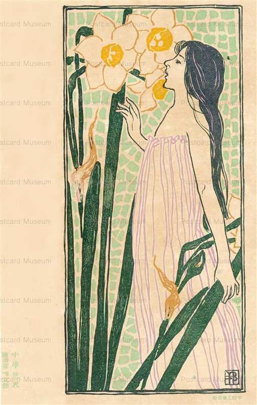 hq010-橋本邦助 水仙と女性