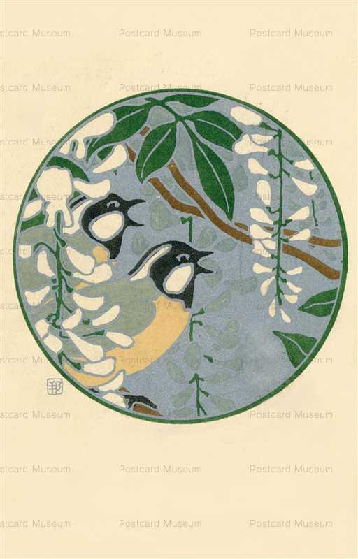hq050-橋本邦助 鳥と白い花
