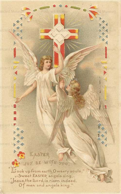 htl100-Easter Angels Crucifix Hold to Light 1910