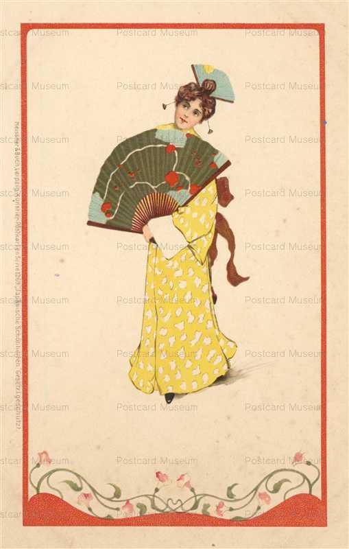 jp022-Japonisme Woman Fan