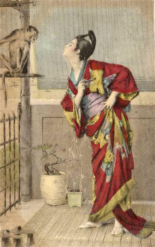 jp030-Japonisme Woman talk Monkey