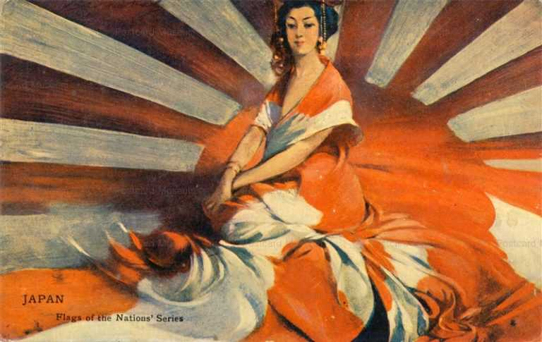 jp140-Early Japan Flags Nations Series Woman