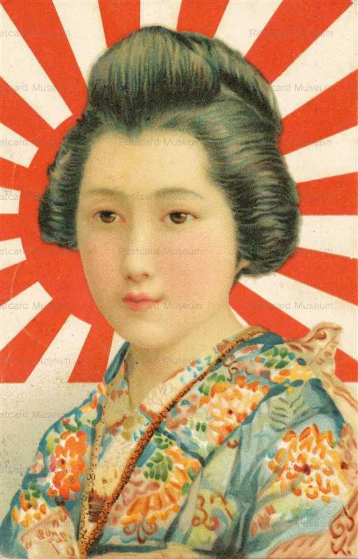 jp150-Portrait Girl&Flag of Japan