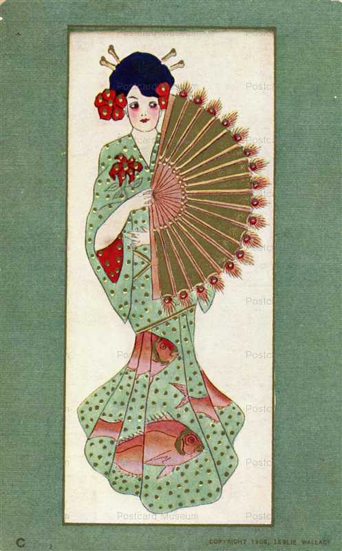 jp170-Geisha Wearing Kimono with Fish