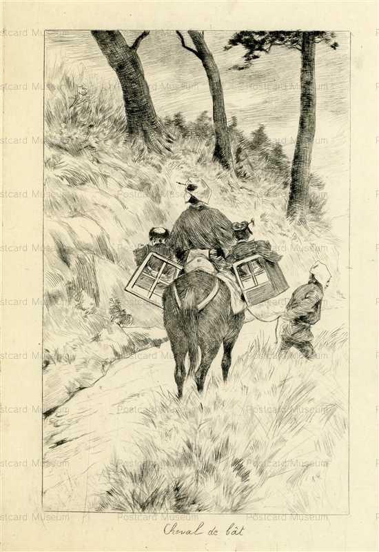 jp717-Bigot Japanese Riding Horse Woman with Children