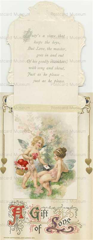 mx030-Valentine Winsch lady on a silk heart Opens Cupid inside