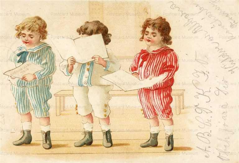 qb112-Three Boys Reading