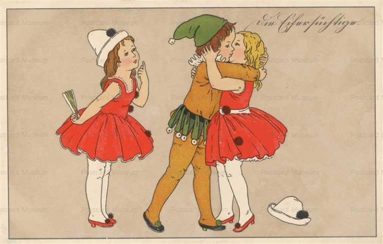 qb122-Ballet Girls and Boy Kissing