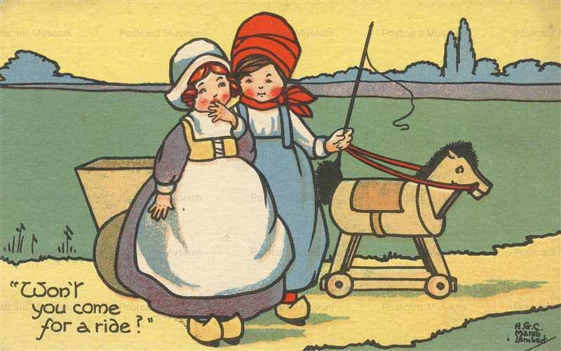 qb180-Girls Play Wooden Horse
