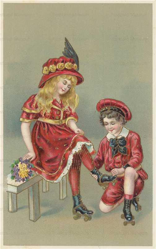 qb240-Victorian Children Roller Skating Gilded
